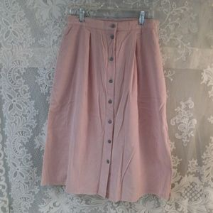 1960s Pink Corduroy Button Front Skirt